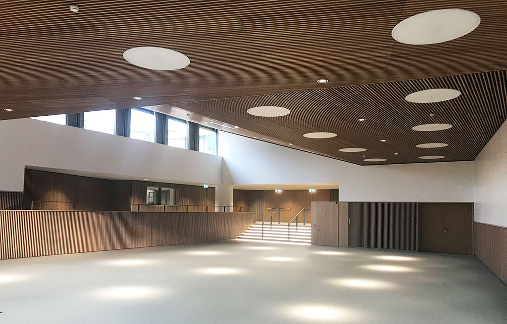 Trefle Campus Sante Auditorium plafonds bois